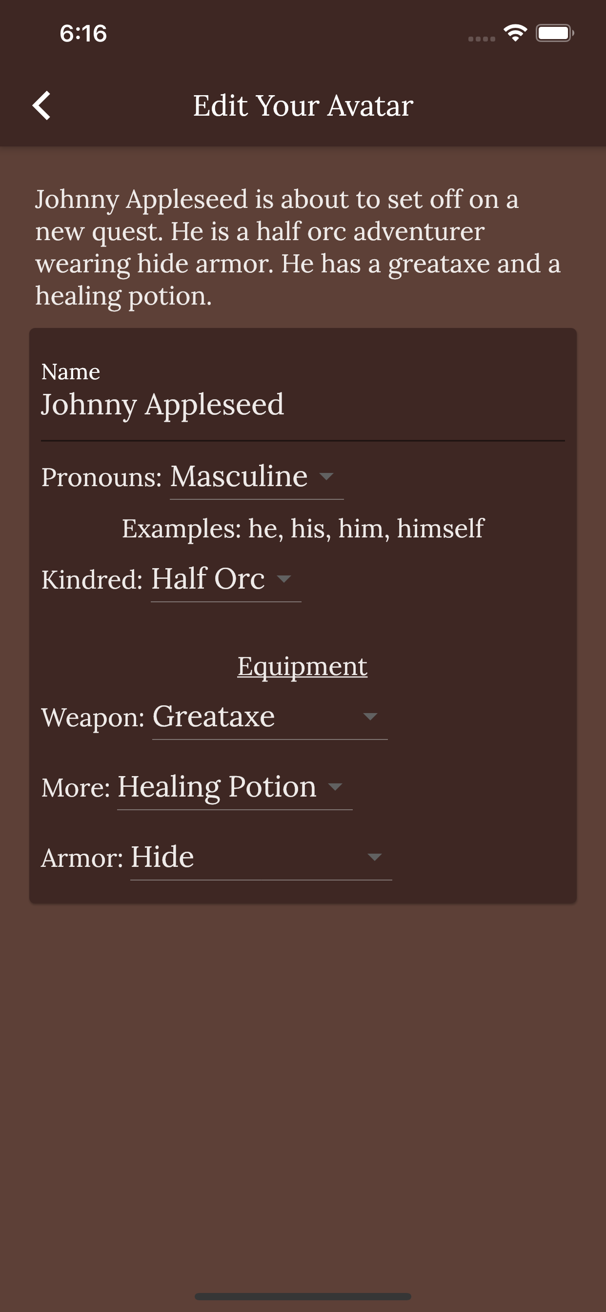 screenshot of the customize page
